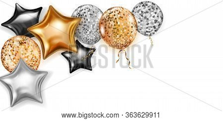 Illustration With Shiny Balloons In Golden, Black And Silver Colors, Round And In The Shape Of Stars