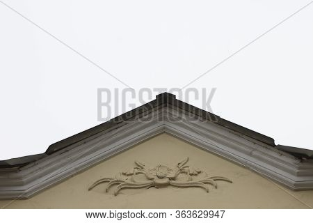 The Roof Of The Old Residential Is Light Yellow. Stucco And Stucco. Ussr, Minsk, Republic Of Belarus
