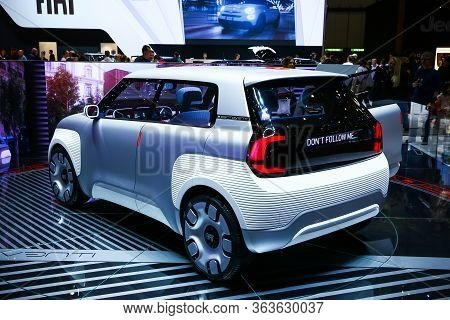 Geneva, Switzerland - March 10, 2019: Concept Car Fiat Centoventi Presented At The Annual Geneva Int