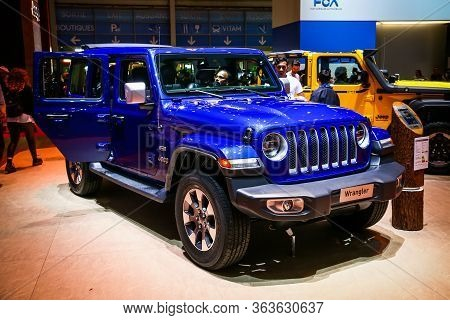 Geneva, Switzerland - March 10, 2019: Blue Offroad Vehicle Jeep Wrangler Presented At The Annual Gen