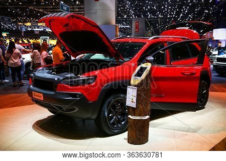 Geneva, Switzerland - March 10, 2019: Red Offroad Vehicle Jeep Cherokee Presented At The Annual Gene