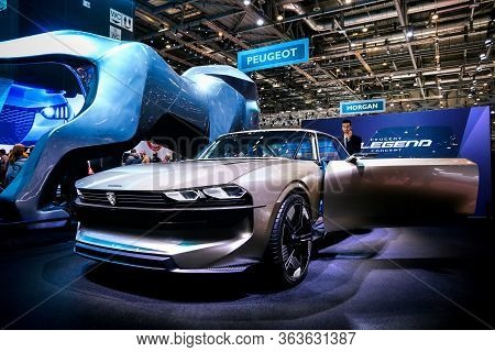 Geneva, Switzerland - March 11, 2019: All-electric Concept Car Peugeot E-legend Presented At The Ann