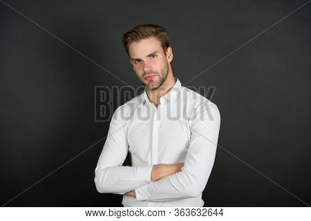 Confident And Looking Awesome. Confident Guy Dark Background. Confident Look Of Fashion Man. Formal