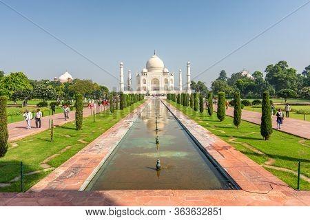Agra, Uttar Pradesh / India - October 6, 2019: Taj Mahal Mausoleum Built In 1643 By Mughal Emperor S