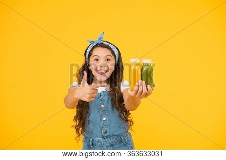Supermarket Promotion. Living Healthy Life. Vitamin Juice. Fresh Smoothie. Girl Drinking Orange Fres