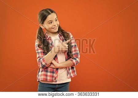 Just Look At This. Product Presentation. Kid Happy Face Show Something Copy Space. Girl Demonstrate