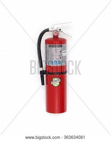 Santo-domingo, Dominican Republic - January 13, 2020: Red Fire Extinguisher By Buckeye Fire Equipmen