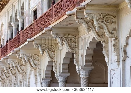 Facade Details In Historical Agra Fort Of The Mughal Dynasty Emperors, Unesco World Heritage Site In