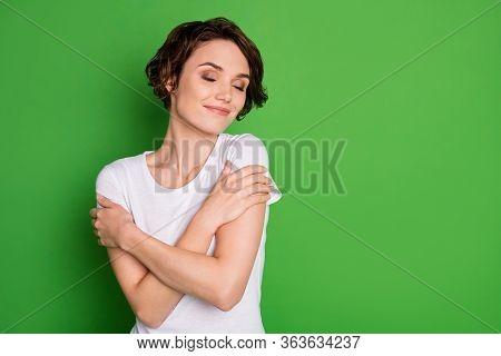 Photo Of Attractive Lady Wavy Short Hairdo Eyes Closed Hug Herself Enjoy Own Company Selfish Person