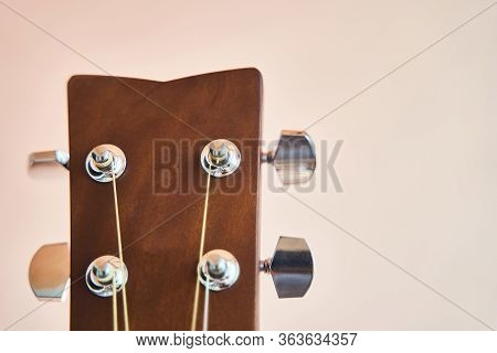 Acoustic Guitar Headboard With Pegs. Guitar Fretboard.