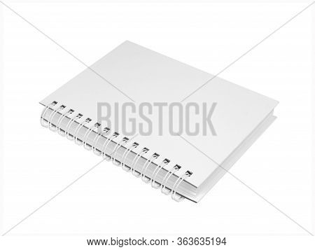 Empty White Notepad With White Spiral Wire Binding. Isolated On  White Background