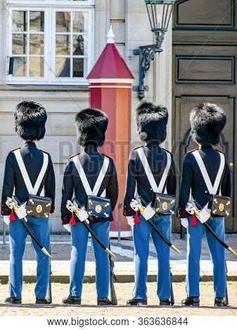 Copenhagen, Denmark - July 15, 2017: Changing Of The Guards At The Amalienborg Castle In Copenhagen