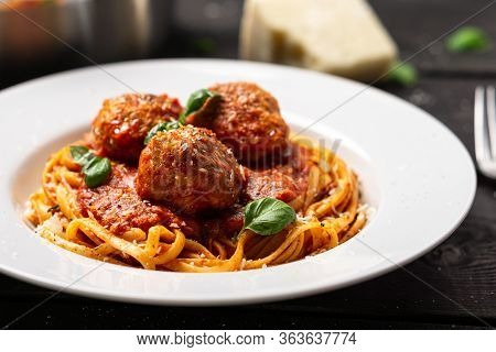 Spaghetti And Meatballs Plate Close-up.