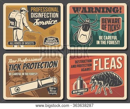 Pest Control And Disinsection Service Vector Vintage Posters, Forest Ticks Warning Sign. Professiona