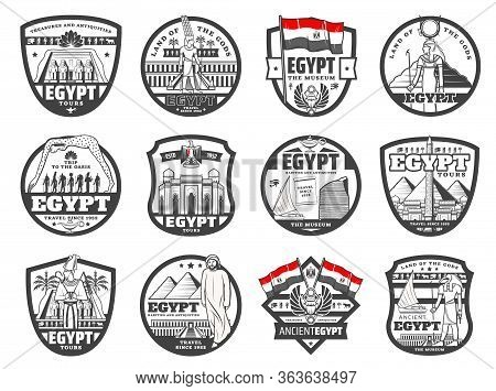Egypt Travel, Culture And Cairo Ancient Landmarks, Travel Agency And City Tours Vector Icons. Giza P