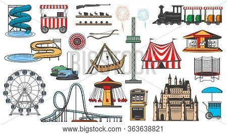 Amusement Park Attractions And Rides, Vector Icons. Funfair Carnival Entertainment, Aquapark Water S