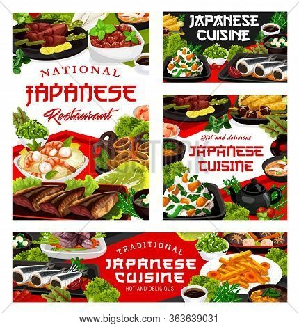Japanese Cuisine Food Dishes, Japan Authentic Traditional Meals And Restaurant Menu, Vector. Japanes