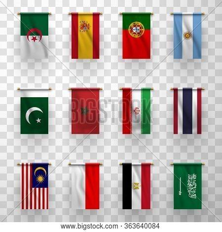 Realistic Flags Icons Algeria, Morocco And Egypt, Iran, Pakistan, Thailand And Malaysia. Indonesia A
