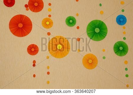 Background With Flbackground With Flowers, Paper Decor On The Wallowers