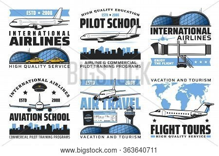 Aviation Academy And Pilot School Emblems, Air Travel And International Airlines Flights Vector Icon
