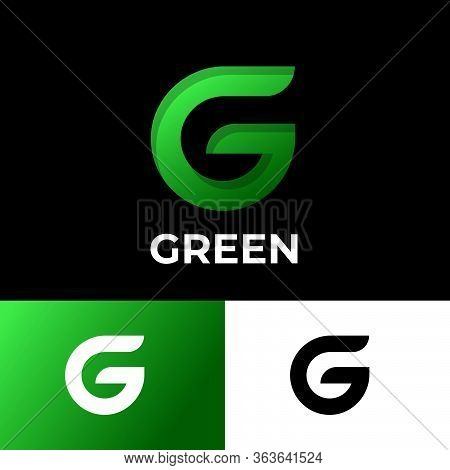 Green G Monogram. Original G Letter. Network Icon Isolated On A Different Backgrounds. Typography. L