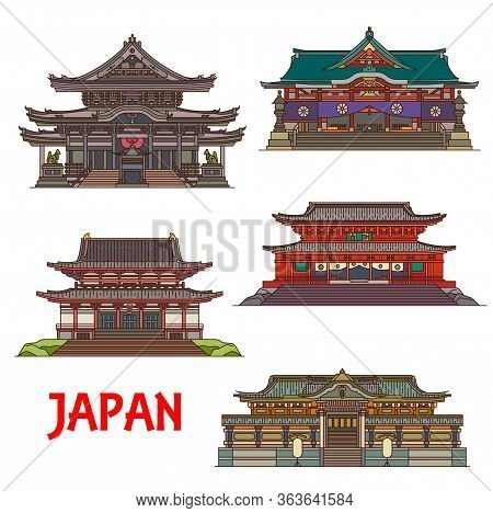 Japanese Buddhist Temples And Shrines, Japan Architecture Landmarks And Famous Pagoda Buildings, Vec