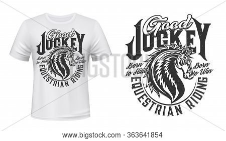 Jockey Club Horse Vector Print For T-shirt Mockup. Equestrian Riding And Equine Racing Sport, Wild M
