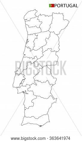 Portugal Map, Black And White Detailed Outline Regions Of The Country.