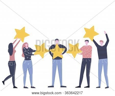 Customer Review Rating. Rank Rating Stars Feedback. Different People Give Rating And Feedback. The B