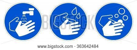 Wash Your Hands Sign. Simple White Drawing With Water Tap, Drops And Soaps In Blue Circle. Can Be Us