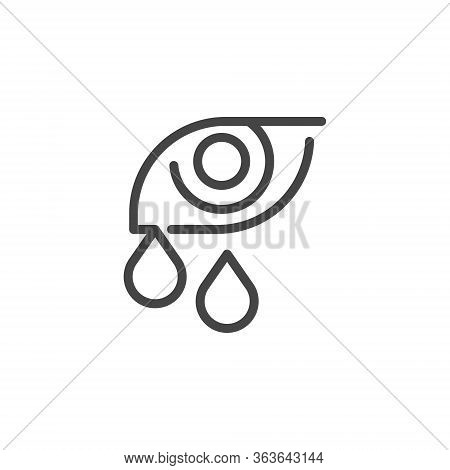 Premium Icon Of Human Eye With Tears. Symptoms Of Allergies, Conjunctivitis, Eye Fatigue, Viral And