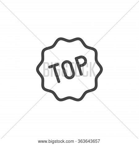 Top Word Icon. Universal Designation Of Popularity, Top Service, Charts, Winners, Tips. Line Label.