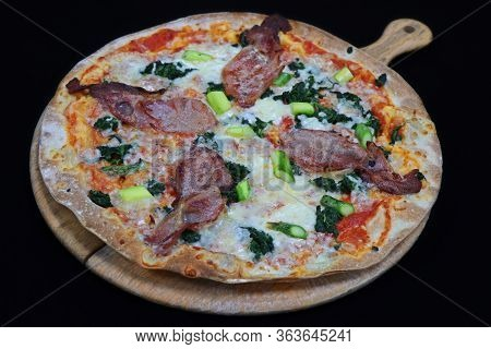 Thin Crust Florentine Pizza With Bacon And Spinach