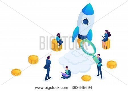Isometric Concept Of Investing In Startups, Rocket Launch, Young Entrepreneurs. Concept For Web Desi