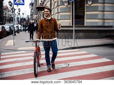 Mirthful Man Leading Healthy Lifestyle And Enjoying His Day