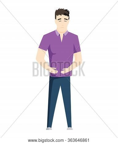 Man Having Stomachache Symptoms Of Appendicitis With Large, Small Intestine And Appendix. Young Man