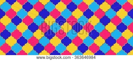 Moroccan Seamless Ornament Eid Mubarak Islam Background. Moroccan Seamless Mosaic Pattern. Ramadan K