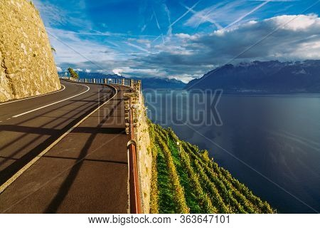 Lavaux, Switzerland: Motorway With Stunning Mountain View Next To Lake Geneva, Canton Of Vaud