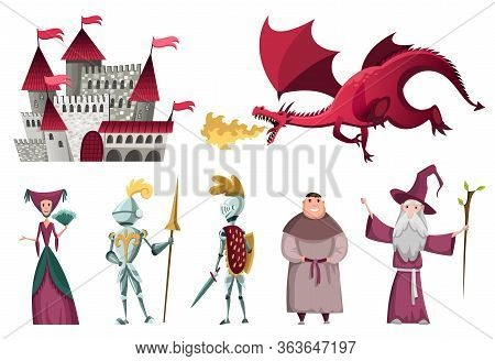 Icons Set Of Medieval Kingdom Characters. Isolated Knight, Monk, Dragon And Others On A White Backgr