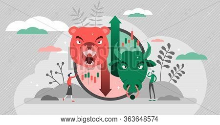 Bears Vs Bulls Vector Illustration. Stock Market Flat Tiny Persons Concept. Animals Compared And Fig