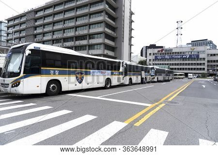 Seoul, South Korea, September 17 2019, View At Police Busses In A Raw Waiting For Action At Empty St
