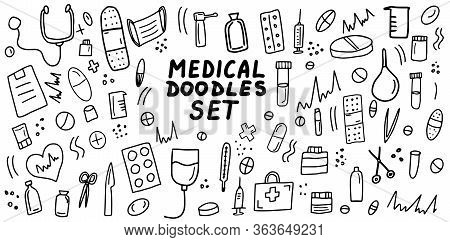 Medical Doodles Icon Set. Hand Drawn Lines Health Care Concepts, Pharmacy, Medicine Cartoon Icons Co