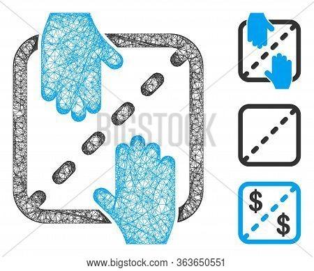 Mesh Authorized Shares Polygonal Web Symbol Vector Illustration. Carcass Model Is Based On Authorize