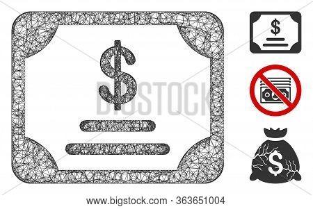 Mesh Financial Bond Polygonal Web 2d Vector Illustration. Model Is Based On Financial Bond Flat Icon