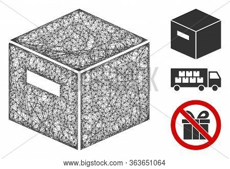 Mesh Goods Box Polygonal Web Icon Vector Illustration. Carcass Model Is Based On Goods Box Flat Icon