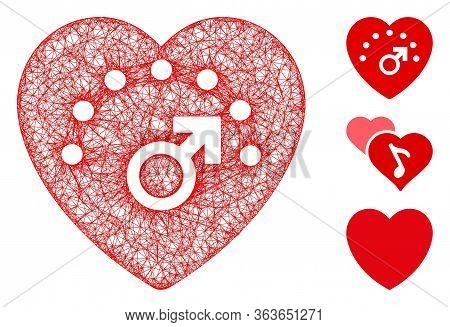 Mesh Love Meter Polygonal Web Icon Vector Illustration. Model Is Based On Love Meter Flat Icon. Tria