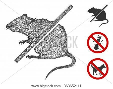 Mesh Stop Rats Polygonal Web 2d Vector Illustration. Abstraction Is Created From Stop Rats Flat Icon