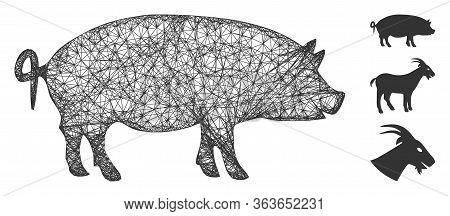 Mesh Swine Polygonal Web 2d Vector Illustration. Carcass Model Is Based On Swine Flat Icon. Triangul