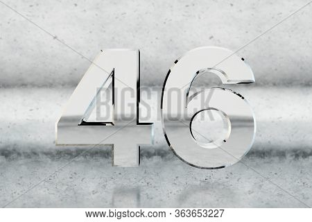 Chrome 3d Number 46. Glossy Chrome Number On Scratched Metal Background. Metallic Digit With Studio