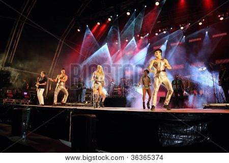 OLHAO, PORTUGAL - AUGUST 12: Banda calypso a performs onstage at seafood festival on August 12, 2012 in Olhao.